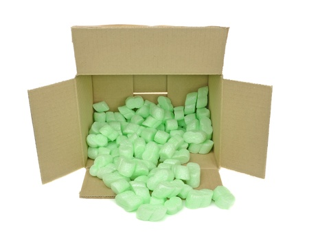 polyurethane: A cardboard box with protective foam packing chips
