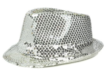 sequin: A glittery silver sequin party hat on white background