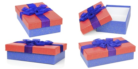 Selection of red and blue gift boxes Stock Photo - 18623889