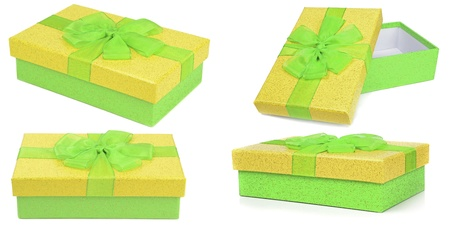 Selection of green and yellow gift boxes Stock Photo - 18623880