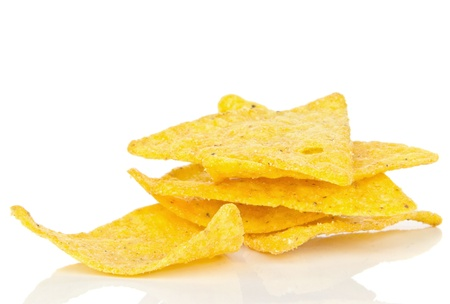 NACHO: A small pile of tortilla chips on a white background