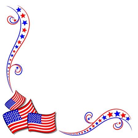 juli: Amerikaanse USA vlag en sterren grens frame met kopie ruimte Stock Illustratie