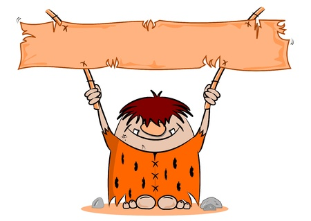 cavern: Cartoon caveman with blank banner on a white background Illustration