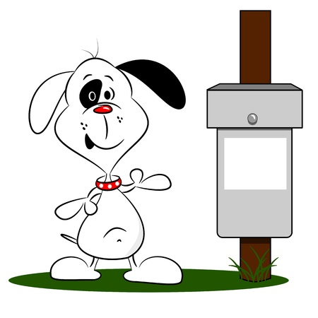 garbage disposal: A cartoon dog next to a litter bin with copy space
