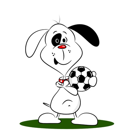 A cartoon dog holding a football on a white background Vector