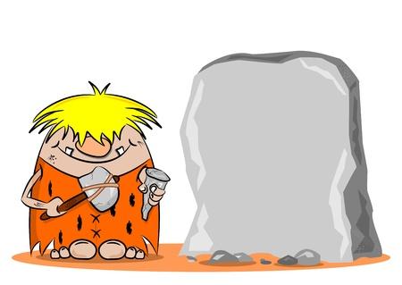 �ge de pierre: Un homme des cavernes de bande dessin�e avec un marteau et d'un ciseau � c�t� d'un rocher blanc Illustration