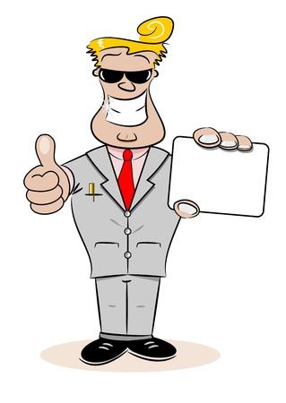 salesmen: A cartoon businessman holding a blank business card