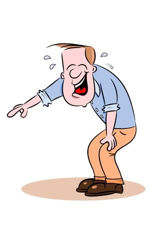 웃으면 서 가리키는 위에 만화 남자의 구부러진