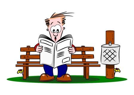 banco parque: Un chico de dibujos animados de leer un peri�dico en un banco del parque