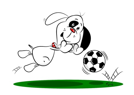 diving save: A cartoon dog diving to save a football whilst playing soccer  Illustration