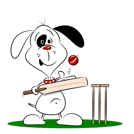 wicket: A cartoon dog paying cricket on a white background  Illustration