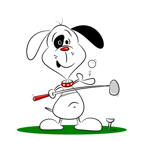 golfing: A cartoon dog playing golf on a white background