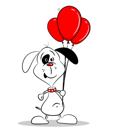 A cartoon dog holding a bunch of red balloons