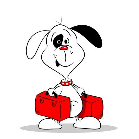 packing suitcase: Un cane del fumetto che tiene due valigie su sfondo bianco Vettoriali