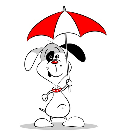A cartoon dog holding an umbrella on a white background Stock Vector - 21384804