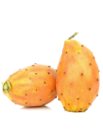 A pair of prickly pear cactus figs on a white background