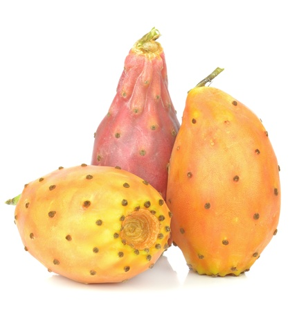 A group of prickly pears cactus figs on a white background photo