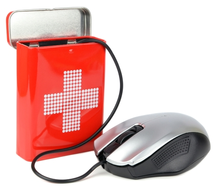 Computer health concept with mouse and first aid box Stock Photo