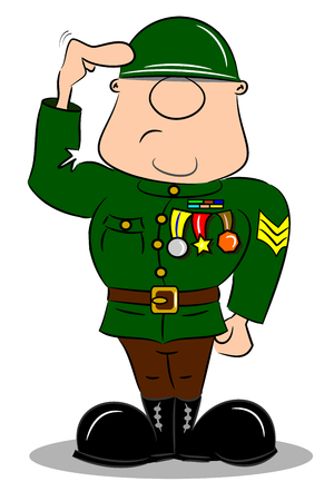 A saluting cartoon soldier in army uniform with medals  Vector
