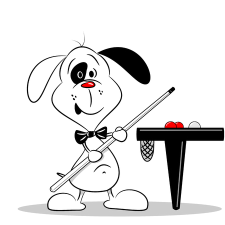 billiards tables: A cartoon dog with a snooker cue next to billiard table