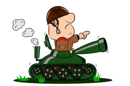Un soldado del ejército de la historieta en la torreta de un tanque