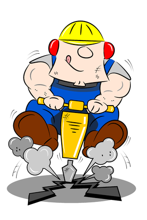 drill: A cartoon workman drilling the road with a pneumatic drill Illustration