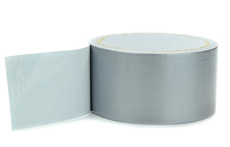 sellotape: A roll of duct tape on a white background Stock Photo