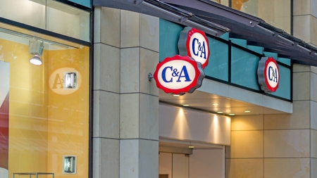 ca: HANNOVER, NIEDERSACHSEN, GERMANY SEPTEMBER 21, 2014: The C&A sign above the entrance doors to one of their the clothing and fashion stores