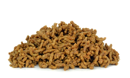 A portion of cooked minced meat on a white background