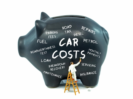 outgoings: A piggy bank with car upkeep costs related words on white background