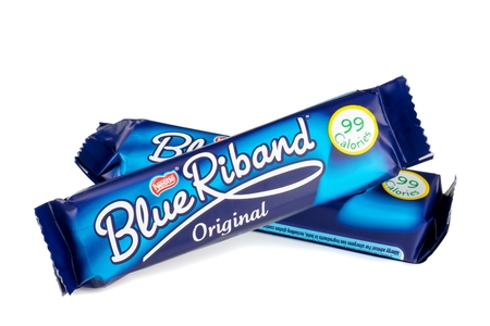 NIEDERSACHSEN, GERMANY  - MARCH 04, 2015: Two Nestle Blue Riband chocolate wafer biscuits on a white background