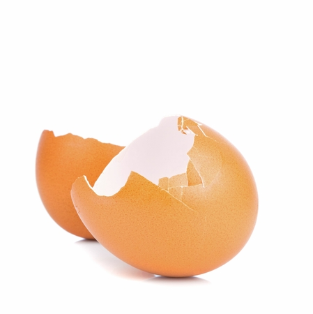 An empty broken brown egg shell on a white background Stock Photo