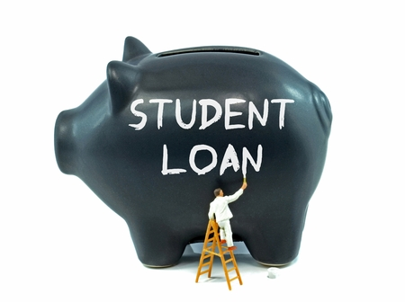 college fund savings: A piggy bank with student loan painted on the side