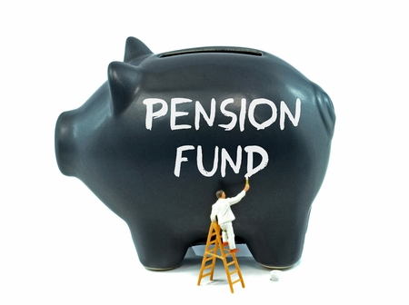 pension fund: A piggy bank with pension fund painted on the side Stock Photo