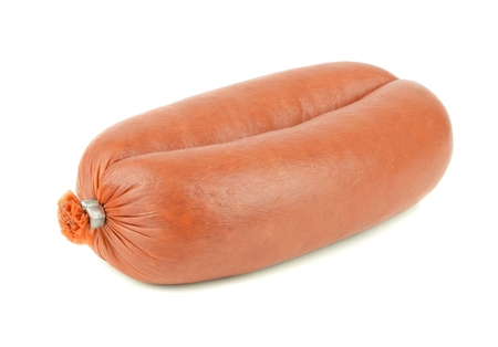 unopen: A  portion of Turkish sucuk sausage on a white background