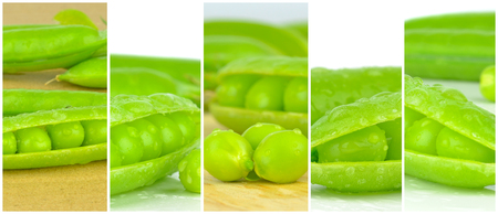 A selection of various close up images of fresh peas in a framed montage
