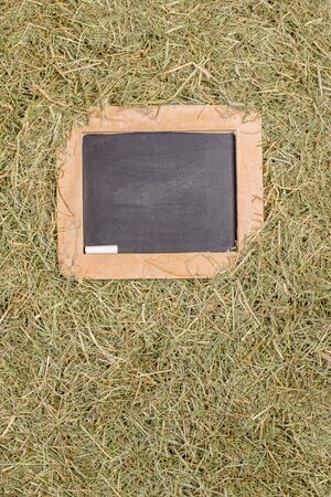A wooden framed blackboard with chalk surrounded by dried straw grass with copy space for your text or picture