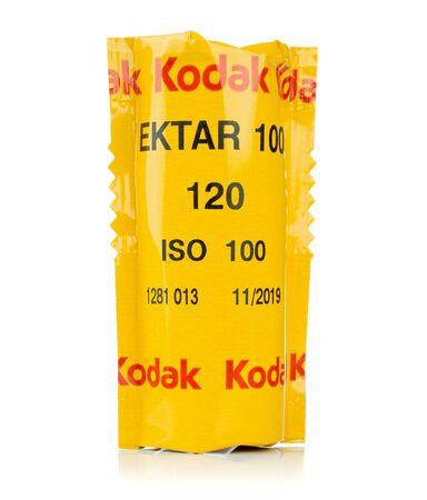 NIEDERSACHSEN, GERMANY APRIL, 9 2019: A sealed roll of Kodak Ektar 120mm medium format camera film on a white background