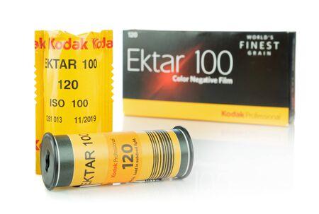 NIEDERSACHSEN, GERMANY APRIL, 9 2019: Two rolls of Kodak Ektar 120mm medium format camera film and box on a white background