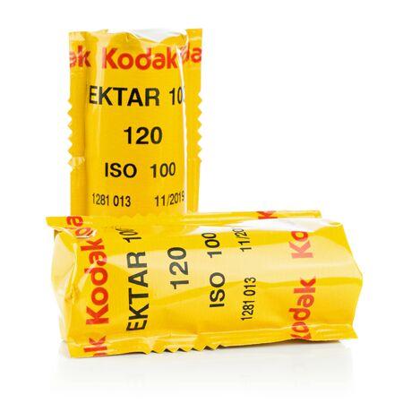 NIEDERSACHSEN, GERMANY APRIL, 9 2019: Two sealed rolls of Kodak Ektar 120mm medium format camera film on a white background