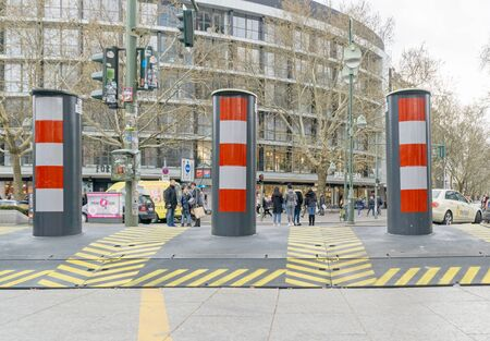 BERLIN, GERMANY APRIL 13, 2019: Portable temporary road block system to prevent against terrorist vehicle attacks at events and markets. Editorial