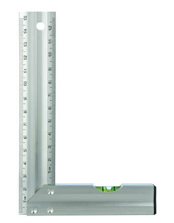 An aluminum right angled set square tool with metric measurements and a built in spirit level on a white background