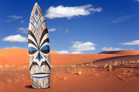 surfboard in the desert Stock Photo
