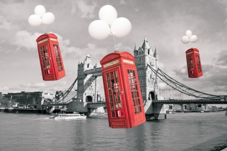 english famous: english flying phone booths