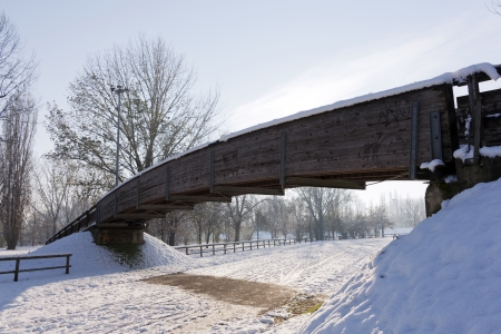 a bridge in the snow photo