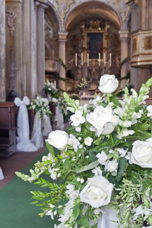 wedding decoration in a church photo