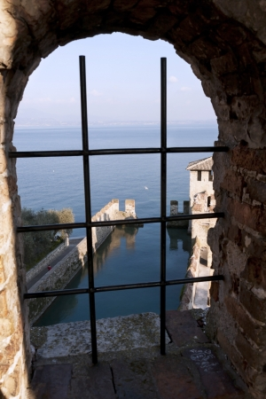 sirmione: window of castle in sirmione