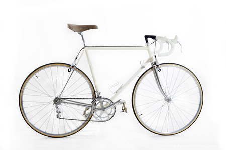 isolated on grey: vintage racing bike isolated on a white background