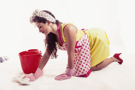 floor cloth: pretty housemaid with cloth and bucket cleaning the floor