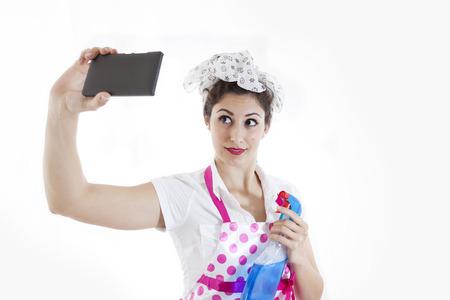 human arm: pretty housewife take selfie in a break Stock Photo
